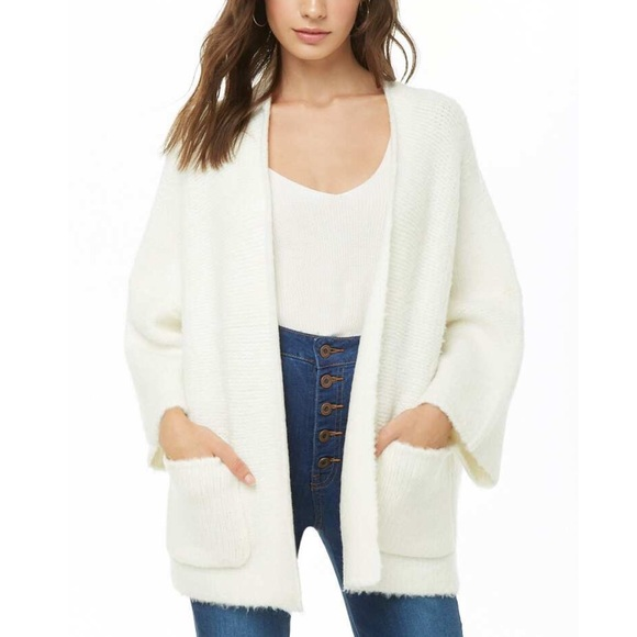 Forever 21 winter white knit sweater open cardigan NWT